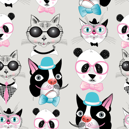 Graphic seamless pattern of retro portraits of various animals