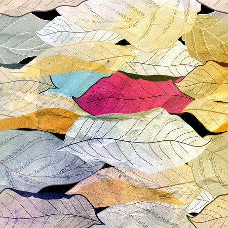 Aged beautiful seamless autumn pattern of colored leaves photo