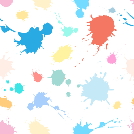 spattered: Bright seamless pattern of colored paint splashes on white background