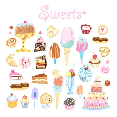 bright delicious set of different sweets on a white background  Vector