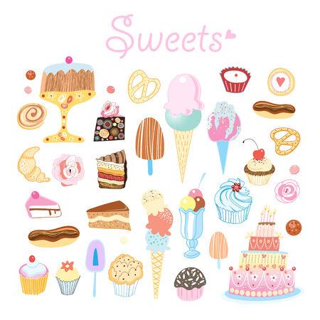 gelatina: delicioso conjunto brillante de diferentes dulces sobre un fondo blanco Vectores