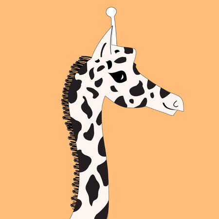 graphics are beautiful giraffes head on orange background Vector