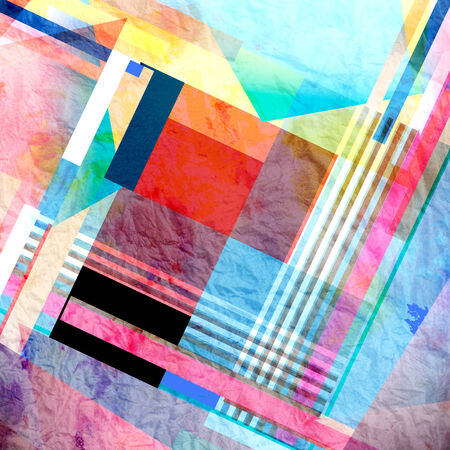 recurrence: watercolor bright abstract background of geometrical elements.  Stock Photo