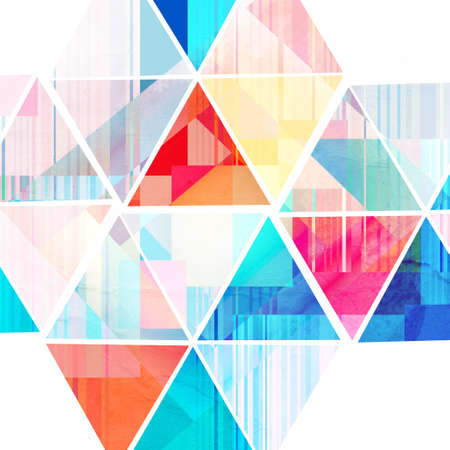recurrence: watercolor bright abstract background of geometrical elements