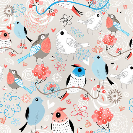 Graphic seamless pattern with birds in love on a floral background   Vector
