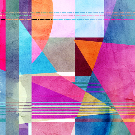 recurrence: watercolor background colorful abstract geometric elements   Stock Photo