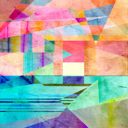 recurrence: watercolor background colored abstract geometric elements   Stock Photo