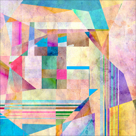 recurrence: watercolor background colored abstract geometric elements