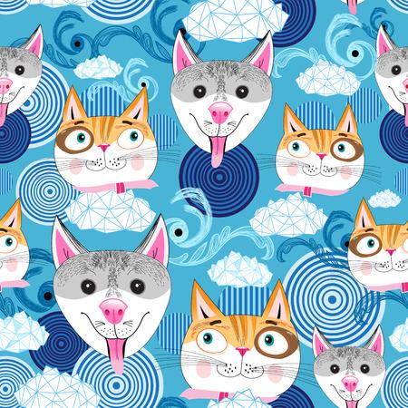 naadloze patroon met portretten van honden en katten op een blauwe achtergrond met wolken Stock Illustratie