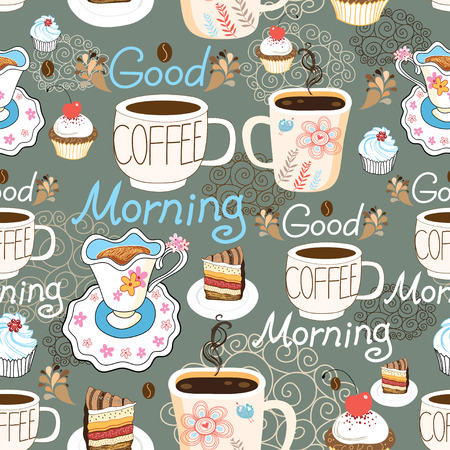 coffee and cake: Seamless pattern with cups of coffee and cakes on a dark background