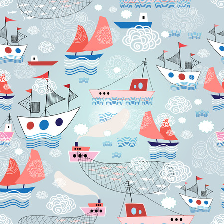 bright graphics summer pattern with different ship on a blue background with clouds