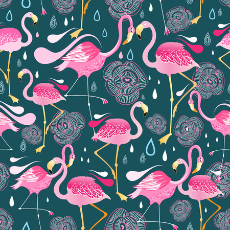 Graphic seamless pattern with bright flowers and flamingos against a dark background 