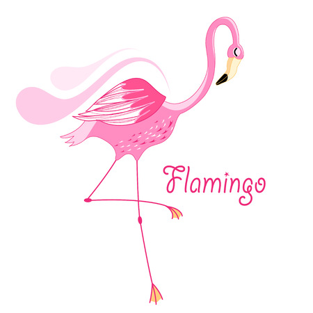 bright pink flamingo graphic on white background  Vector