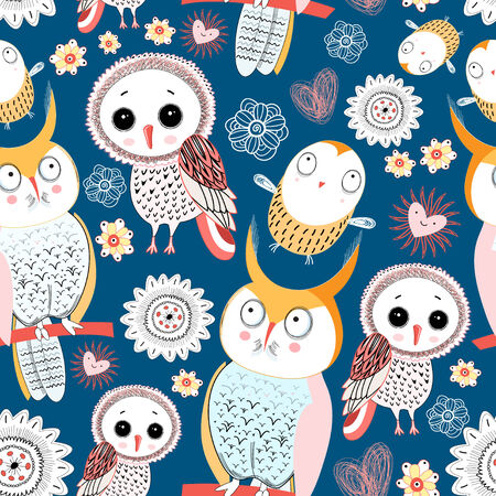 seamless floral pattern with owls on a dark blue background Banco de Imagens - 28599050