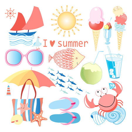 bright summer set with various objects on white background    Vector
