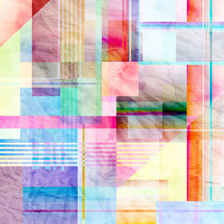 watercolor background colorful abstract geometric elements   Stock Photo