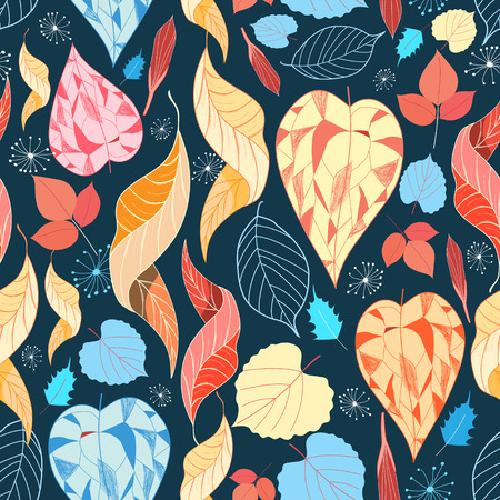 Graphic seamless bright pattern of autumn leaves  Vector