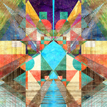 deter: bright abstract graphic background with different geometric elements