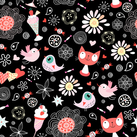 flowers cat: texture of the fun loving cats Illustration
