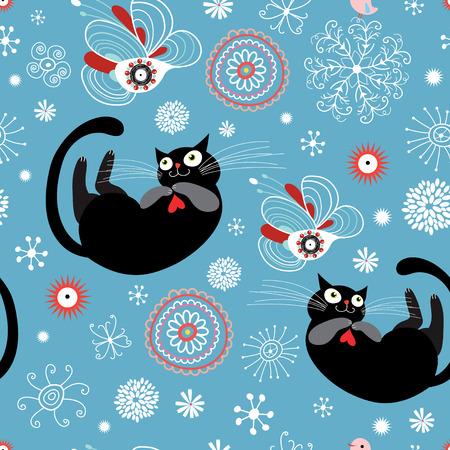 textuur van de leuke liefhebbende katten Stock Illustratie