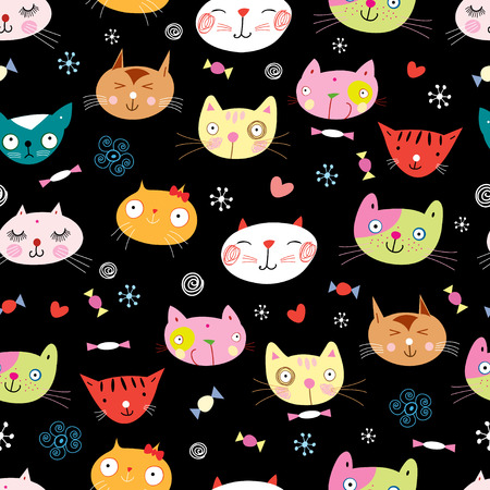 texture of the fun loving cats Illustration