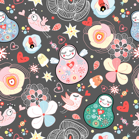 Vector seamless pattern with Russian doll ? matreshka.