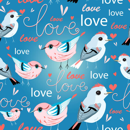 Bright seamless pattern with lovers birds and love inscriptions  Vector