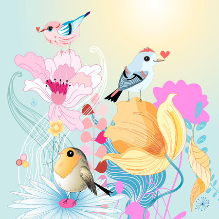 flowered: funny birds in love on a beautiful flowered  Illustration
