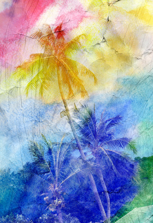 beach sea: colorful retro colorful watercolor silhouettes of palm trees Stock Photo