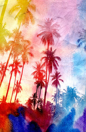 colorful retro colorful watercolor silhouettes of palm trees Stock Photo