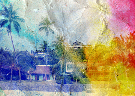 deeply: bright multicolored retro beautiful landscape with palm trees and buildings