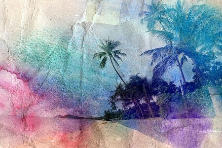 retro aged watercolor seashore with palm trees Banco de Imagens - 33533390