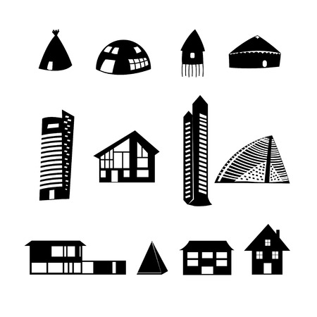 graphic set of different buildings on a white background Vector
