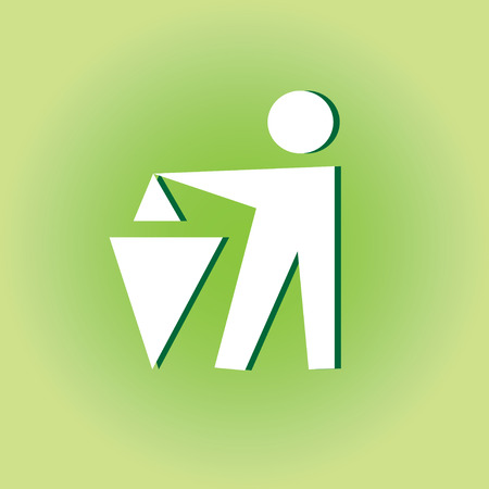 garbage man: graphic white sign to throw out the garbage man on a green background