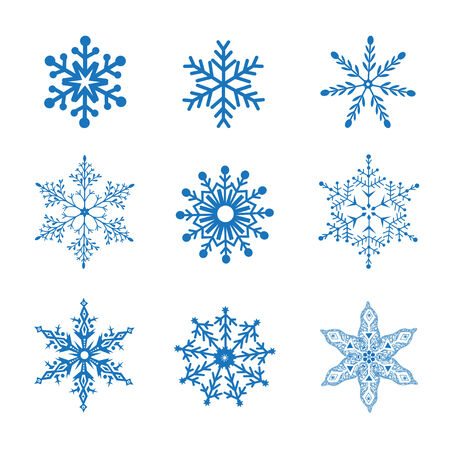 graphic set of vector blue snowflakes on a white background Vector