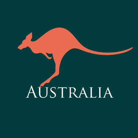sign silhouette kangaroo on a dark background Vector