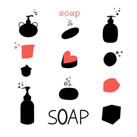 Reihe von grafischen Symbolen verschiedener Seifen auf weißem Hintergrund Standard-Bild - 34600683