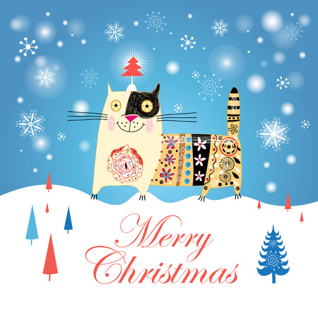 snow drifts: Christmas card with funny cat and Christmas trees