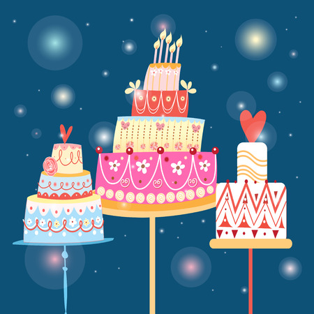 bright graphics holiday cakes on a blue background Vector