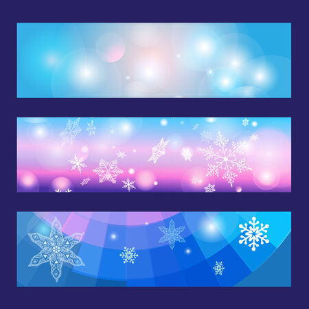 Christmas  set different banners with snowflakes and light Vector