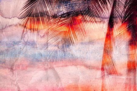 밝은 색깔의 복고풍 수채화 야자 열 대 지방에 나뭇잎 스톡 콘텐츠