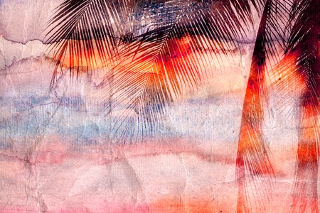 bright colored retro watercolor palm leaves in the tropicsr