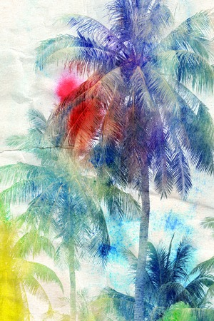 ヤシの木のカラフルなレトロなカラフルな水彩シルエット