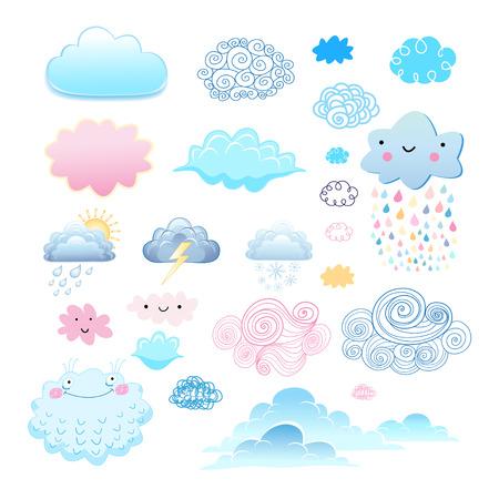 nebulosidade: coleção gráfica de diferentes nuvens em um fundo branco