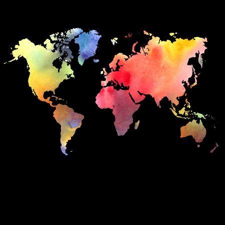 Vector watercolor map, web and mobile template. Corporate design web site. Atlas world map silhouette