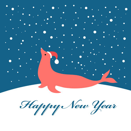 fur seal: Bright Christmas card with fur seal on a blue background with snow Illustration