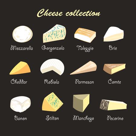 チーズ、暗い背景上のグラフィックの美しいコレクション