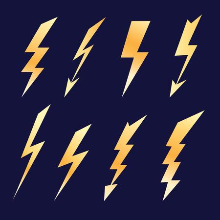 Bright icon set different lightning on a dark background