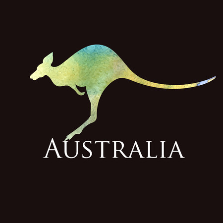 kangaroo: watercolor silhouette kangaroo sign on a black background
