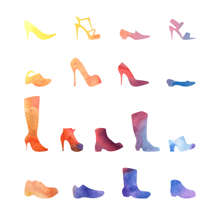 watercolor set of different shoes on a white background Vector